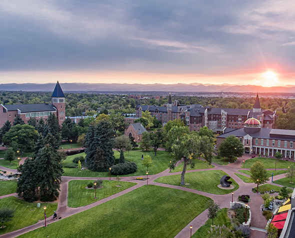 Drone view of campus at sunset