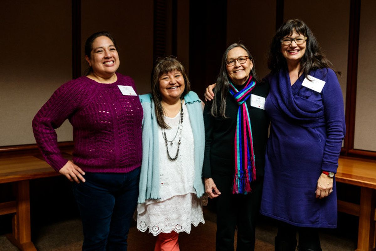 Angela Parker, Melanie Yazzie, Jan Jacobs and Dakota Hoska at the Ethical Stewardship of Contemporary Native Art event at DU