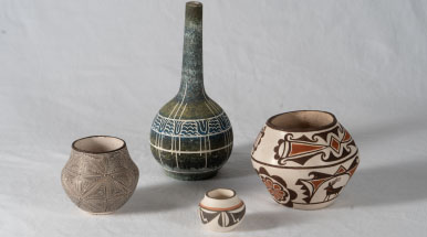 Native American pottery by Lucy M. Lewis, Douglas Levi, Josephine Nahohao and Stella Teller