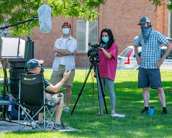 MFJS students and faculty complete a film project while socially distancing outside during the summer of 2020