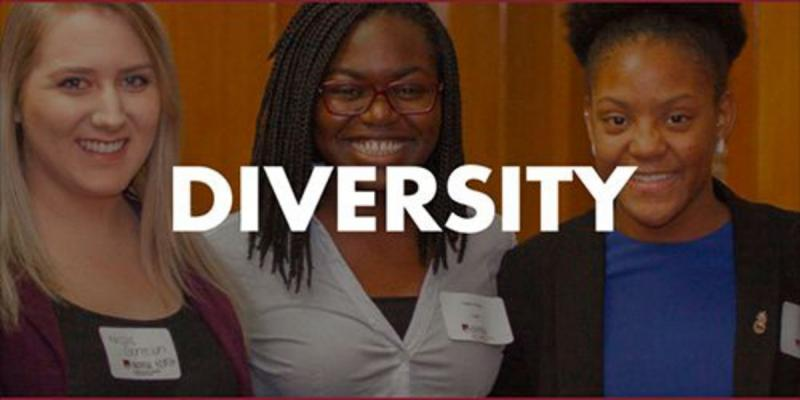 "Image from the top of the DCB Diversity Statement webpage, featuring three women of different skin tones. The word ""Diversity"" is written over the photo."
