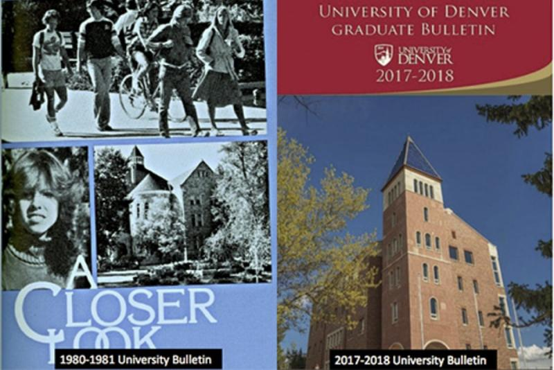 The covers of the DU bulletins from 1980-1981 and 2017-2018