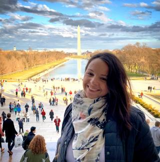 Chelsea Montes de Oca in front of the Washington Monument in Washington, DC